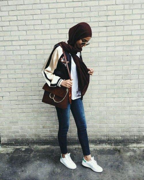 Bomber jacket hijab- Hijab trend spring fashion – Just Trendy Girls