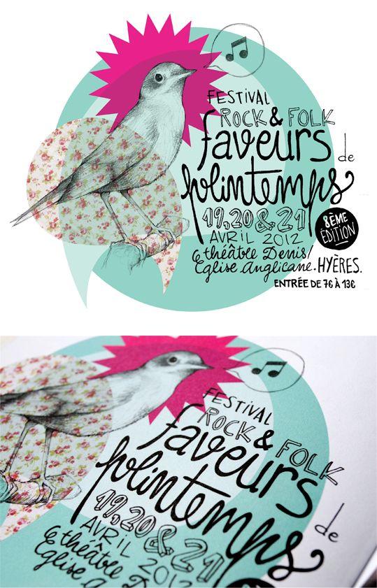 Faveurs de Printemps // Tandem  II Audrey Vuillequez, poster, graphic design ,graphisme, bird, patterns