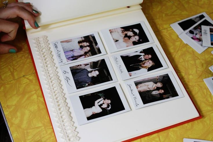 """Instead of a guest book: Have someone there to take pictures of your guests using an """"instant picture"""" camera.  Have your guests sign those and drop in box.  Later, take photos and make a scrapbook out of it!  Much more fun than just signatures!"""
