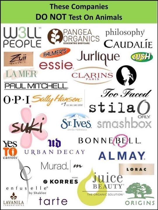 Cruelty Free Companies  *St.Ives, Almay, Stila,  Smashbox I believe are no longer cruelty free...