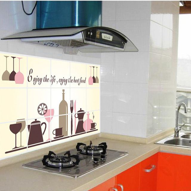 Check current price cheap sale! Removable 45*75cm wine glasses oil proof kitchen sticker vinyl wall decor decal decoration stickers to the kitchen just only $3.78 with free shipping worldwide  #wallstickers Plese click on picture to see our special price for you