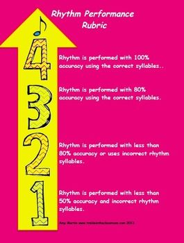 4 Point Scale Visual Rubrics are Included for: Singing Voice Performance Rhythm Performance  Mallet Performance Recorder Performance