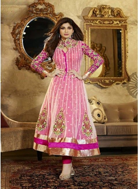 Sparkling pink anarkali with heavy resham work sleeves