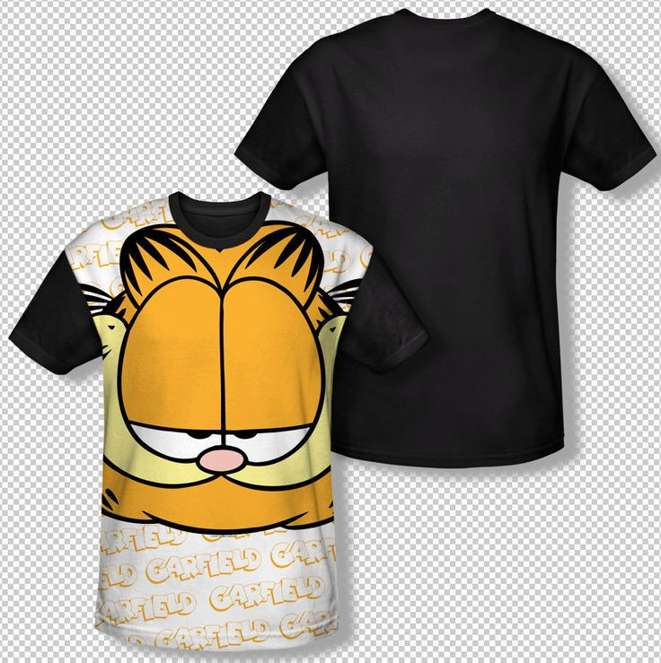New Garfield Big Face Name Cartoon Comic All Over Front Sublimation T-shirt Top Mens Sizes: S, M, L, XL, 2XL, 3XL