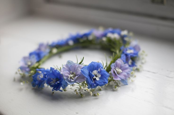 Delicate Blue & Purple Flower Crown  Eleanor & Drew Wedding from Love Me Do Photography