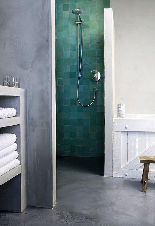 turquoise mediterranean tiles and concrete bathroom
