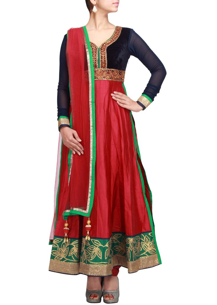 Maroon suit featuring with embroidered placket and side slit only on Kalki
