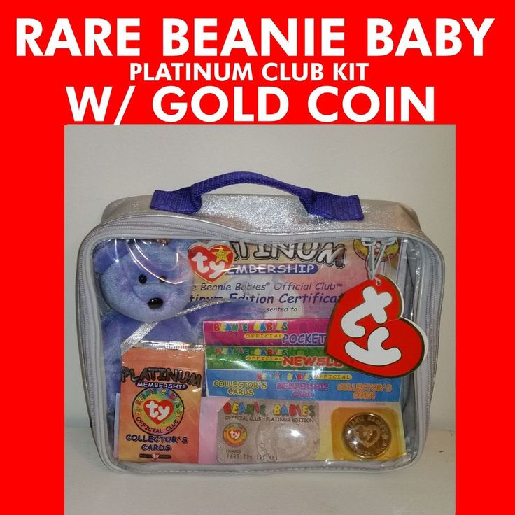 SUPER RARE GOLD COIN --> TY Beanie Babies Official Club Platinum Edition Kit NEW #Ty