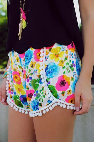 $33 White Floral Pom Pom Shorts | UOIOnline.com: Women's Clothing Boutique