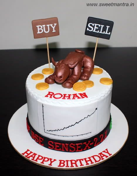 Sensex Indian share/stock market broker theme cake with 3D bull for a broker's birthday by Sweet Mantra - Customized 3D cakes Designer Wedding/Engagement cakes in Pune - http://cakesdecor.com/cakes/290724-sensex-indian-share-stock-market-broker-theme-cake-with-3d-bull-for-a-broker-s-birthday