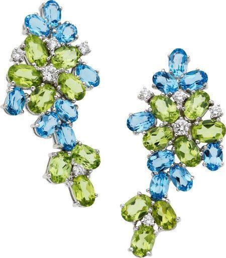 Stunning Eli Frei 20ct. Blue Topaz, Peridot, 0.60ct G/VS Diamond 18K Earrings #EliFrei #DropDangle