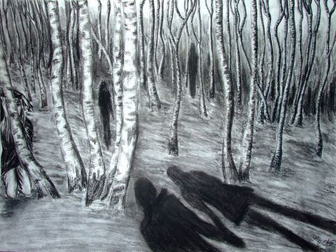 """""""Memory of Something I Imagined"""" - charcoal on paper, by Thierry Jo Kane"""