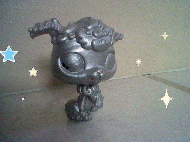 This is a metal/silver/statue poodle custom!pin if u like!!!!!!!