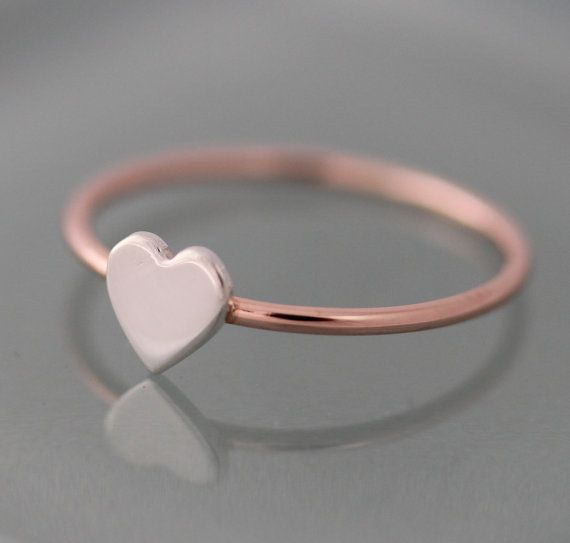 Rose Gold Ring Tiny Heart 14k SOLID Gold 1mm Band with