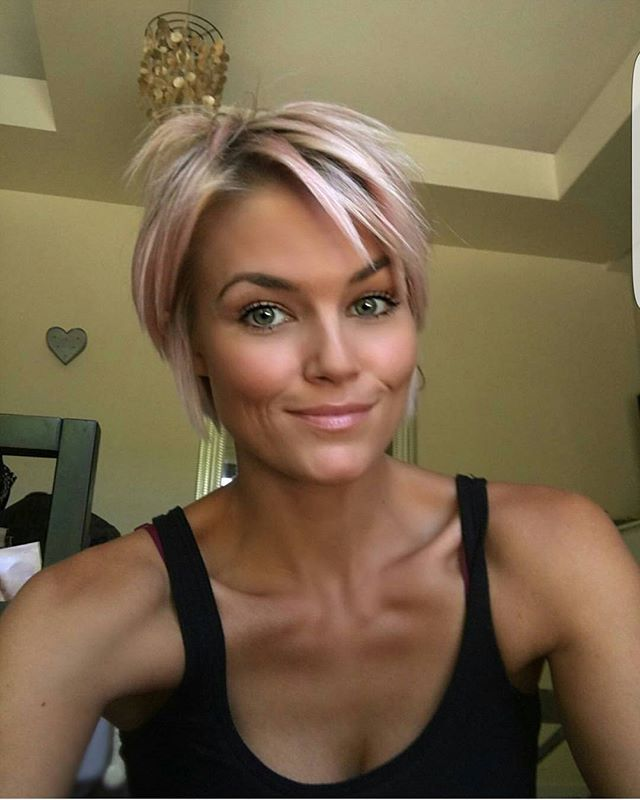 @krissafowles with a new color on her previous blonde hair. @krissafowles short blonde hair  Short Blonde Haircuts