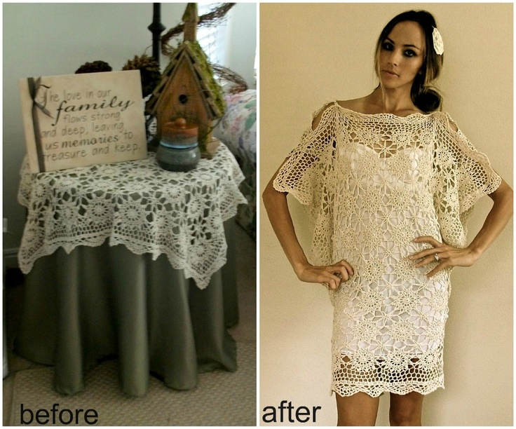 Trash To Couture: Table cloths make a lovely flutter sleeve dress. I'd go with any smaller-gauge lace panels