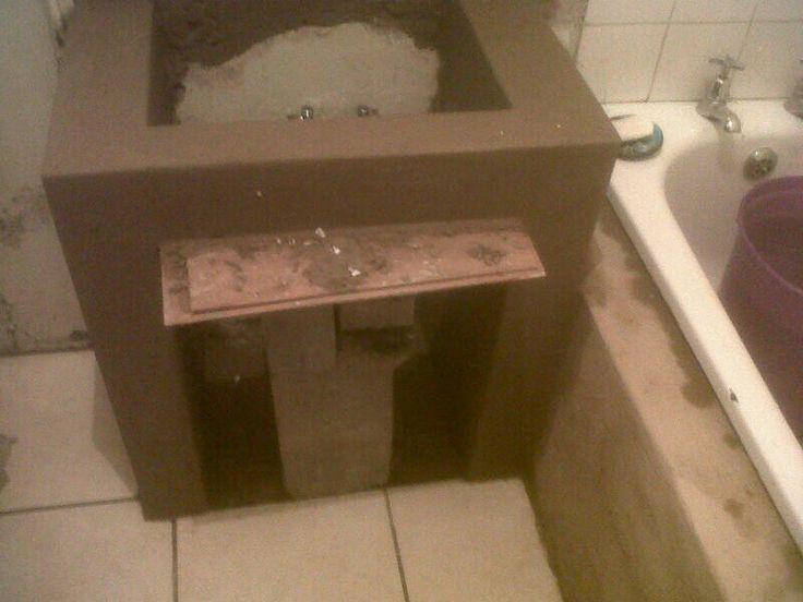 Basin, plumbing and tiling
