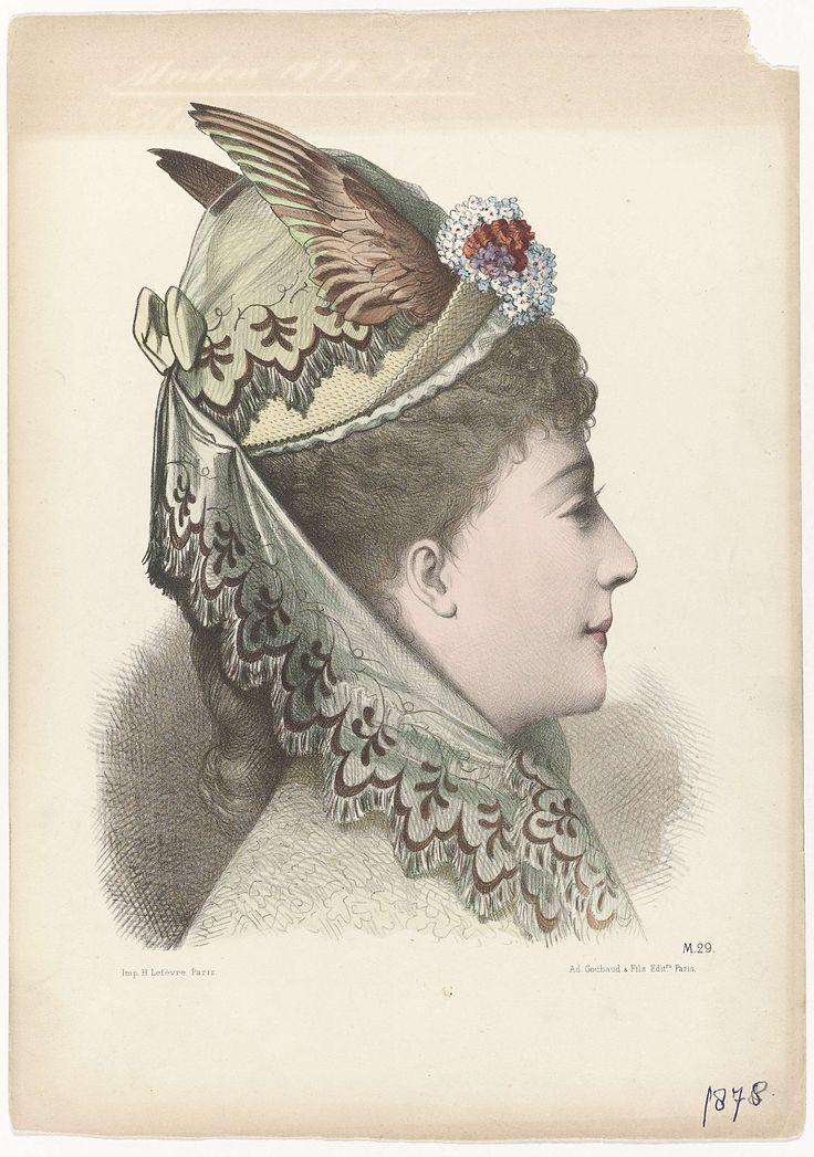 Anonymous | Vrouwenhoofd met hoed en voile, 1875, No. M.29, Anonymous, Ad. Goubaud et Fils, H. Lefèvre, 1875 | Vrouwenhoofd, en profil naar rechts, met een hoed overtrokken met een voile met geschulpte zoom en franjes, die onder de kin is vastgemaakt. De hoed is aan weerszijden versierd met veren of vleugels en middenvoor met bloemen.
