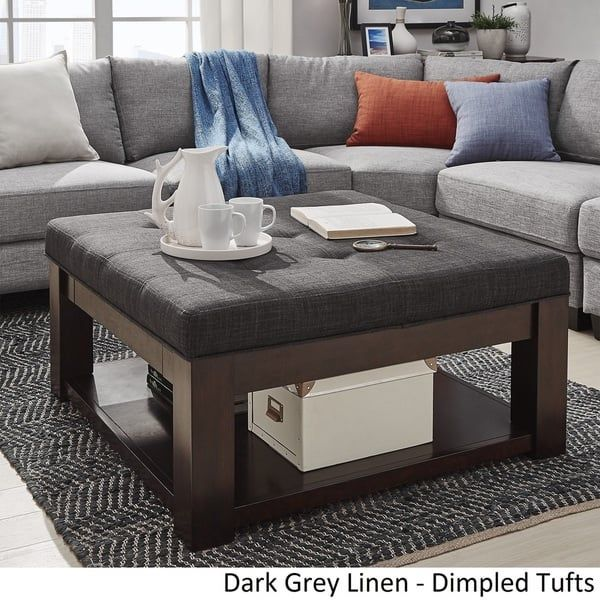 Lennon Espresso Square Storage Ottoman Coffee Table By Inspire Q Clic Refurnished Refurbished Pinterest