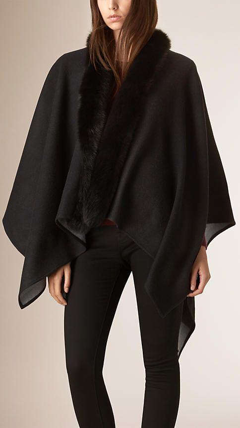 Gris marengo Poncho en lana de merino con ribete de piel - Imagen 1