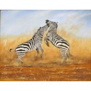 Two Zebra Fighting Acrylic on Canvas - Mvungi Lusingu