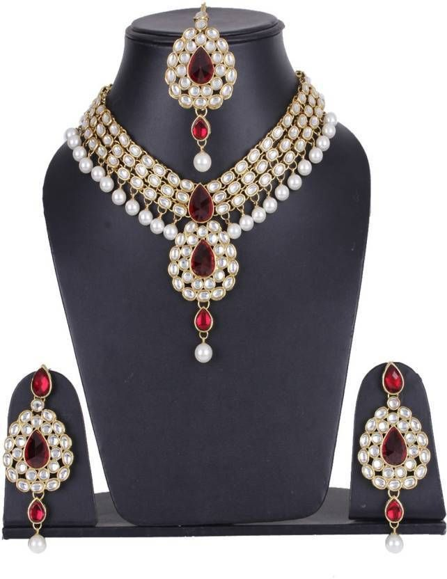 Stunning Indian Bollywood Red Stone White Pearls Kundan Wedding Necklace Set #natural_gems15 #GoldPlated
