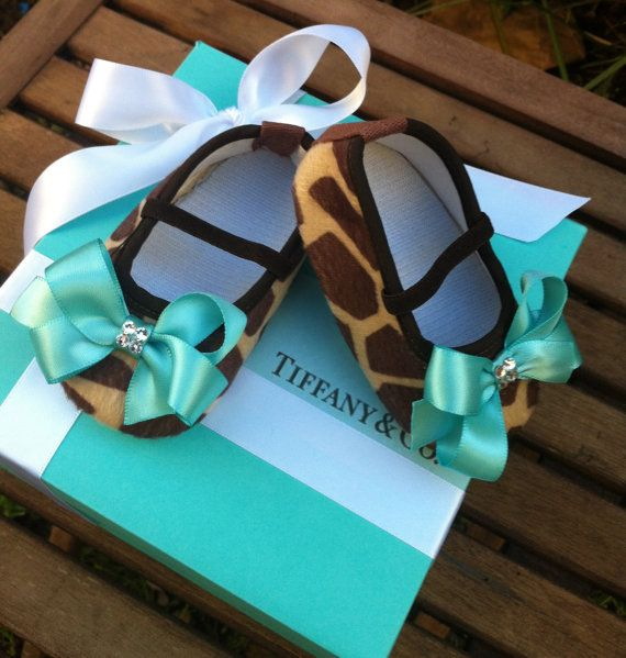 Yeah.... I'm gonna NEED these for my future kids. Come on... Officially want to have a baby girl one day if only for these shoes!!! Tiffany & Co Inspired Giraffe Infant Crib Shoes by RockkandyKids, $13.00