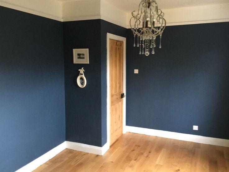 Success, the lovely Farrow and Ball Stiffkey Blue on my walls.