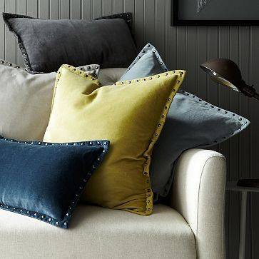 STUDDED VELVET PILLOW COVER, by west elm love the putty and the gray