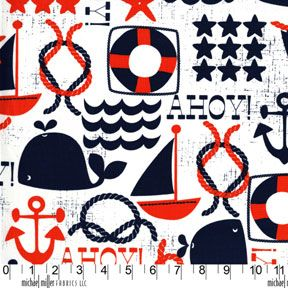 Sarah Jane Out To Sea Fabric: Ahoy Matey Nautical Theme Red White Navy Blue