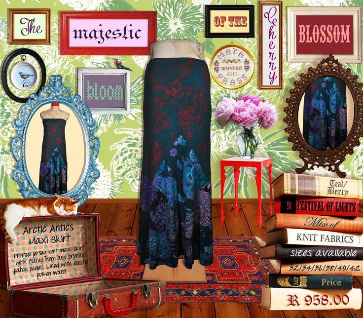 Arctic Antics maxi skirt teal Festival of Lights