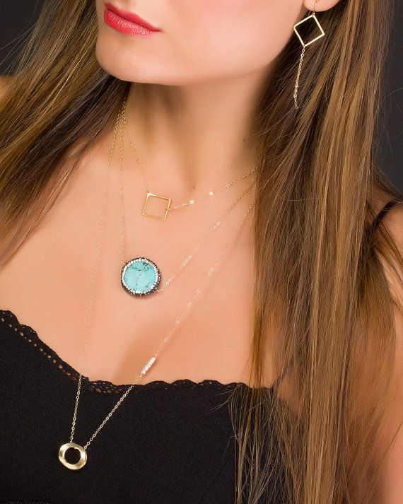 Turquoise Necklace on a 14k gold filled chain Boho Chic