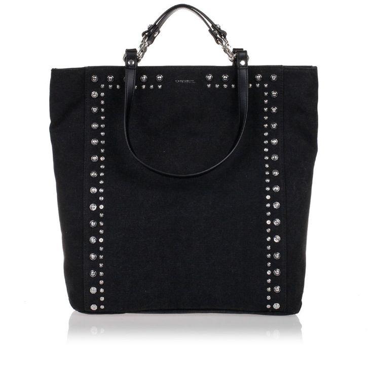 DIESEL Women Black Denim STUDD ME CANVAS Shopping Bag New with Tag #Diesel #nd