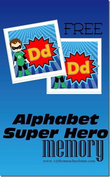 FREE ALPHABET SUPERHERO MEMORY GAME (Instant Download)