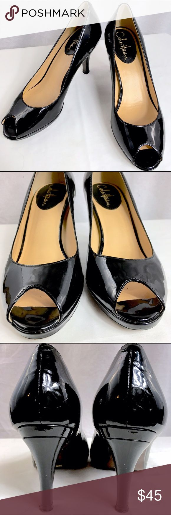 Cole Haan NIKEAIR Patent Peep Toe Black Pumps 7.5B These black leather pumps are in very good condition. They have been gently loved. They are not perfect, but they are in such a good condition that they would still go great with any wardrobe! The heel measures 2 3/4 inches, however, there is a 1/2 inch platform toward the toe. Cole Haan Shoes Heels