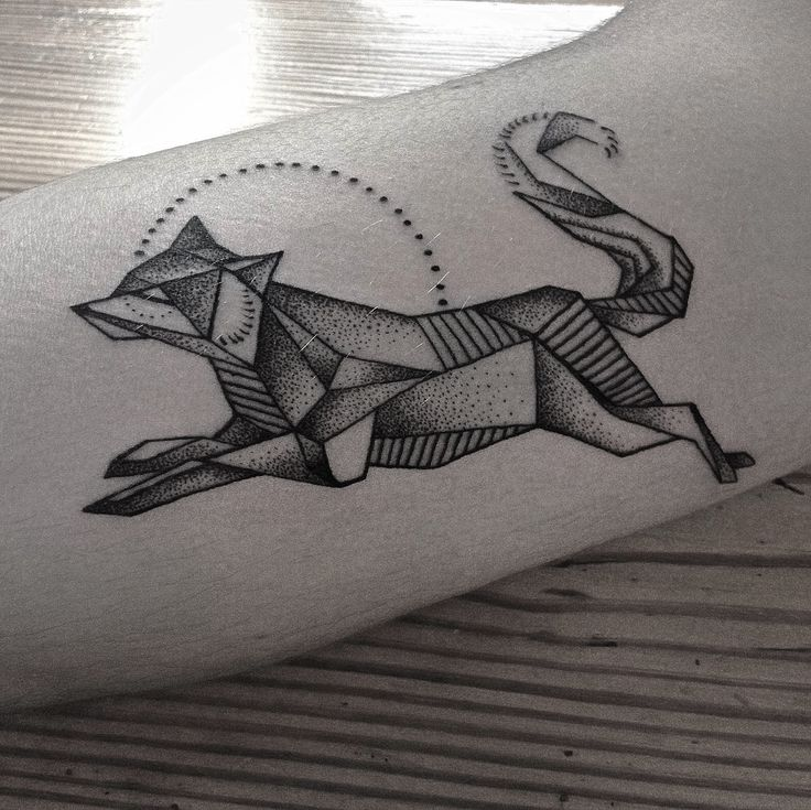 geometrical fox black dotwork by @kreskatattoo