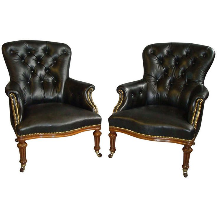 A Good Pair of C19th Leather and Walnut Upholstered Library Armchairs    From a unique collection94 best Seating images on Pinterest   Armchairs  Modern armchair  . Antique Library Armchairs. Home Design Ideas
