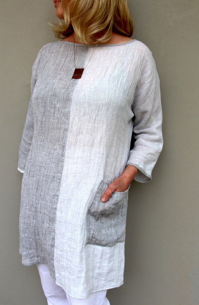 Ola Tunic Top – This loose tunic-style top features magyar sleeves and exposed bindings...