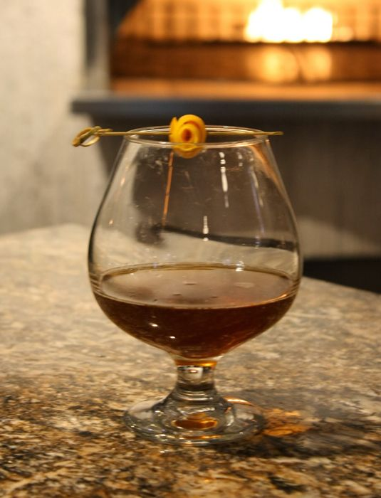'Fallen' cocktail - bourbon, cider, brown sugar and walnut bitters. Served warm.