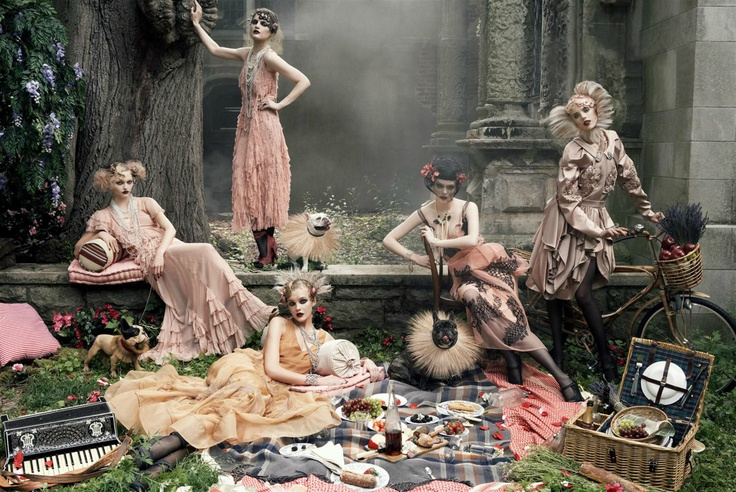 fashion ad magazine promotion advertising dress design decor picnic bicycle keyboard tree: Vogue, Inspiration, Style, Steven Meisel, Grace Coddington, Fashion Photography, Fashion Editorial, September Issue, Picnic