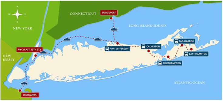 Hamptons Ferry! Pictured is a map of all the weekend ferry and bus trips provided by Sea Jitney. (Credit: Courtesy)