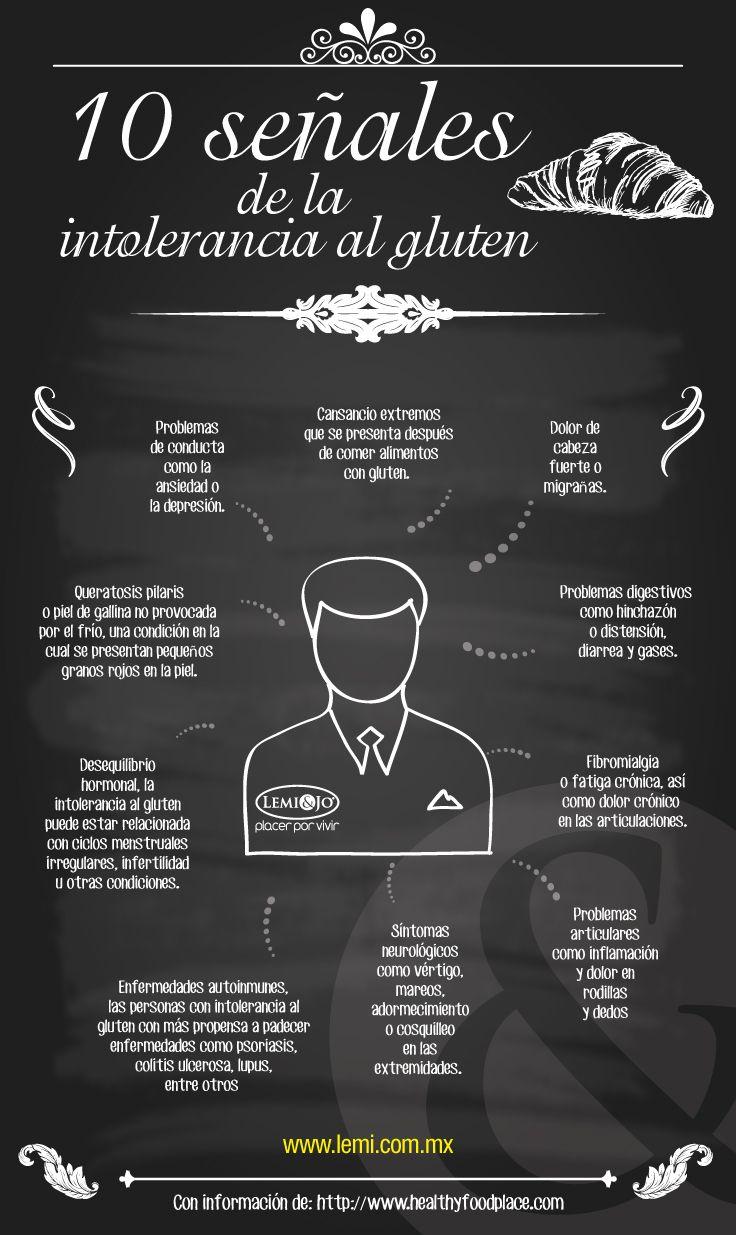 Infografía: 10 señales de la #intolerancia al #gluten. #infografia #salu # bienestar
