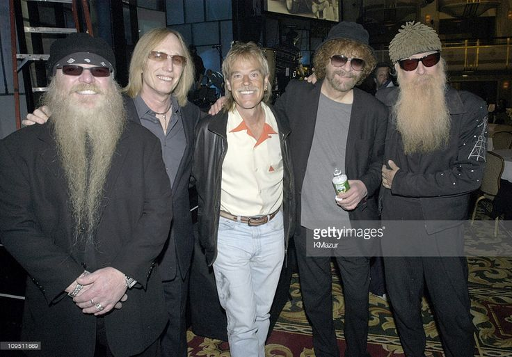Inductees ZZ Top - Dusty Hill (L), Frank Beard (C) and Billy Gibbons (R) backstage with Tom Petty and Jeff Lynne