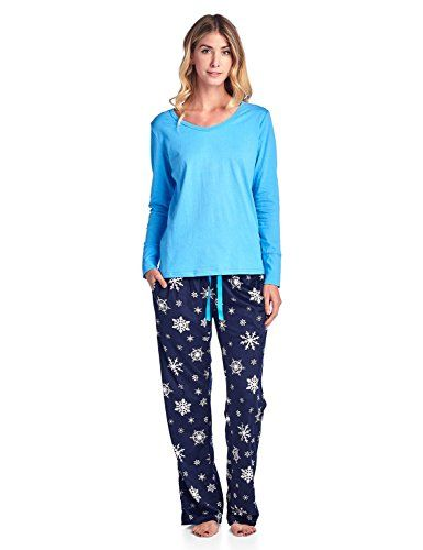 62d1f8f73a Ashford   Brooks Women s Long Sleeve Cotton Top with Mink Fleece Pants  Pajama Set - Navy