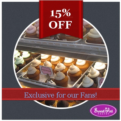 Exclusive promotion for our Fans. Choose any of your favourite cupcakes from our  shop and order with a 15% exclusive fans discount.  Use this code when ordering: EXCLUSIVE15 in shop or on-line. Offer available only today!