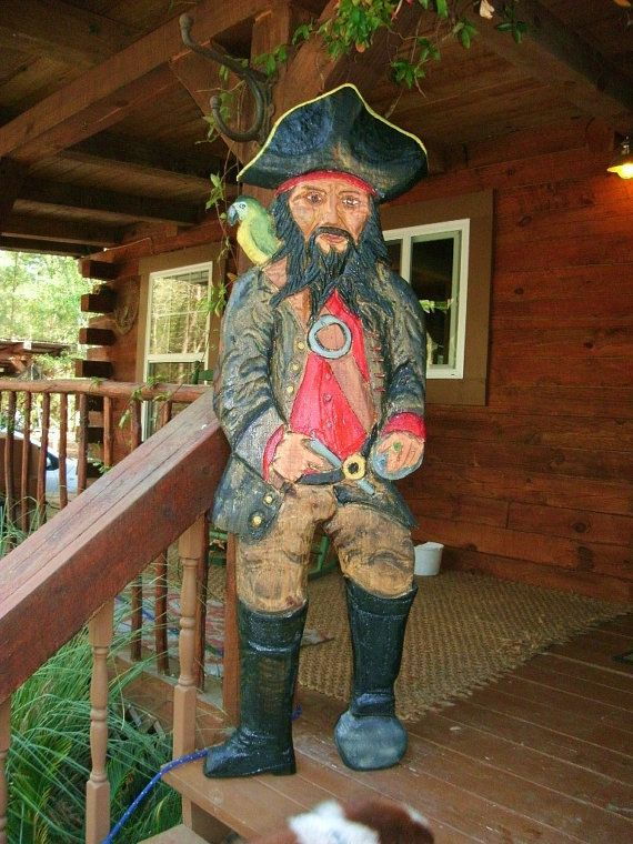 Black beard pirate foot chainsaw nautical wood by