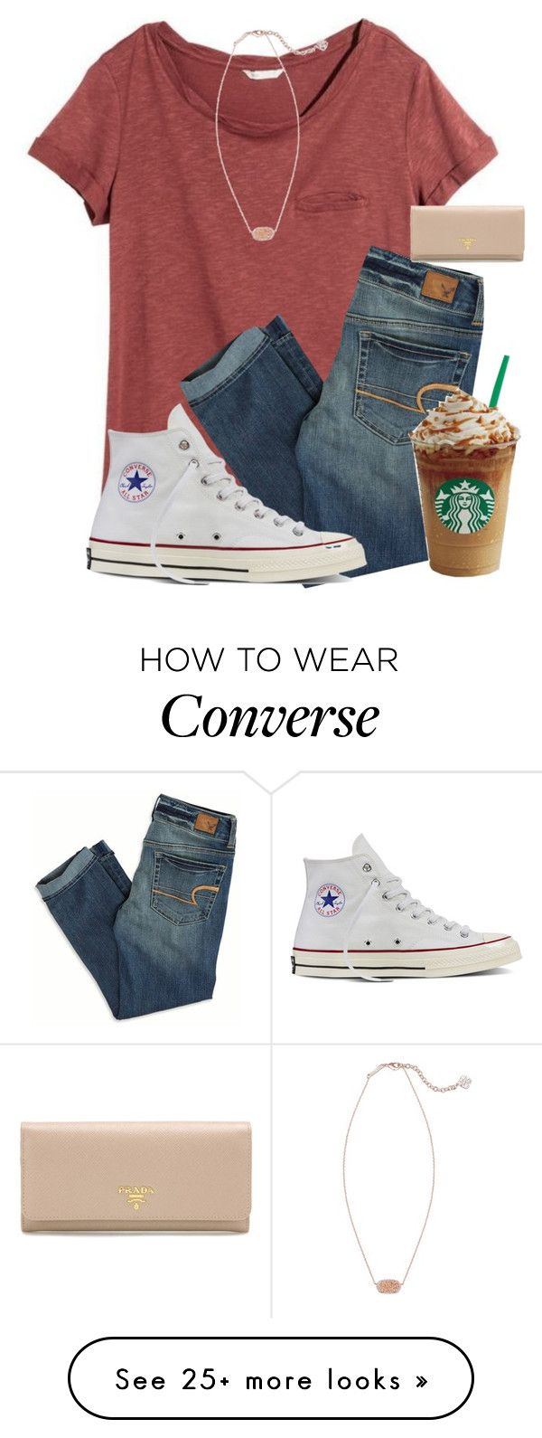 """Not my preppiest but eh it's Monday "" by mmprep on Polyvore featuring H&M, American Eagle Outfitters, Kendra Scott, Converse and Prada"