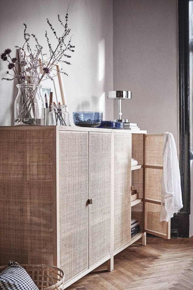 This woven cabinet is one of the clear standout pieces in the collection.