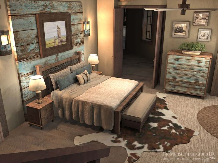 Master bedroom design concept. Turquoise wash barnwood, neutral palette, browns and coppers, textural elements like rug and metal picture frame.