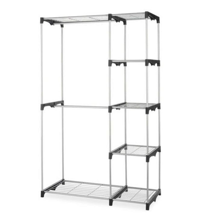 48 In X 68 In Closet Organizer Storage Portable Clothes Hanger Home Garment Rack Shelf Rod Ws G4568 Sliver Storage Closet Organization Clothes Rack Closet Storage Solutions Closet